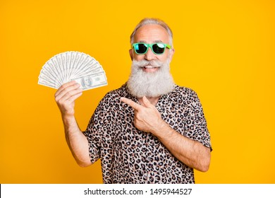 Portrait of white bearded funny old man in eyewear eyeglasses smile win lottery point at hold fan money credit deposit wearing leopard print shirt isolated over yellow background