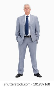 Portrait of a white haired businessman against white background