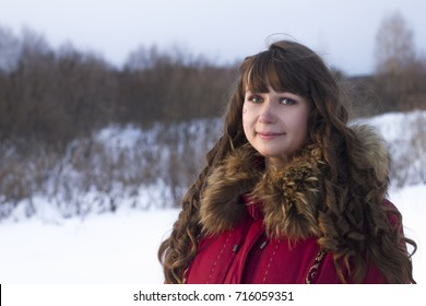 portrait white woman in fur coat winter day outdoors