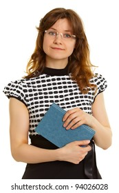 Portrait of a woman - an adult student with a book isolated on white background