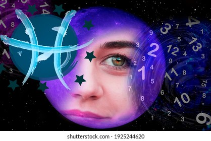 Portrait of a woman and astrological zodiac sign Pisces
