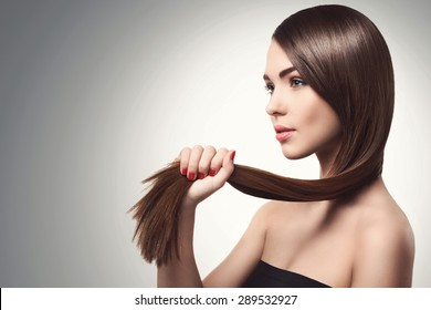 Portrait of woman with beautiful long hair