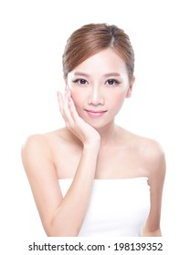 portrait of the woman with beauty face and perfect skin isolated on white background, asian