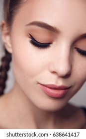 Portrait of a woman, beauty shot with eyeliner makeup