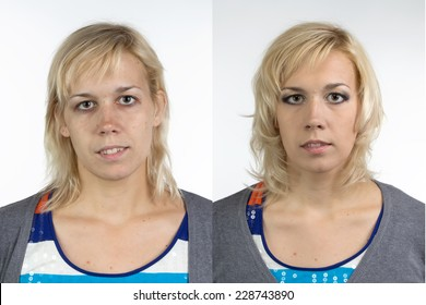 Portrait of woman before and after make up - isolated photo