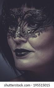 portrait of woman with black mask thread Venetian