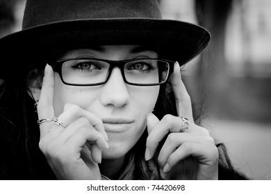 Portrait of woman in black & white