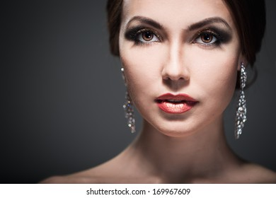 Portrait of a woman with bright makeup