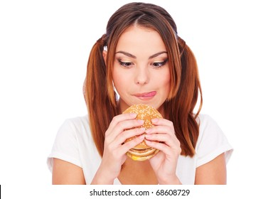 portrait of woman with burger. isolated on white