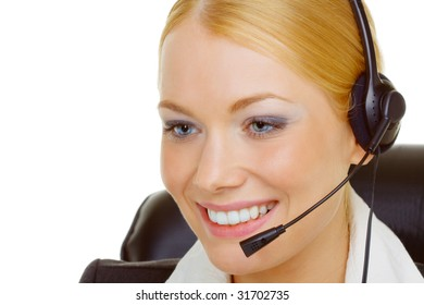 Portrait of woman in call center isolated on white