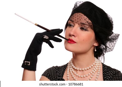 portrait of a woman with a cigarette holder over white background