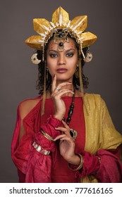 Portrait of woman in creative indian style
