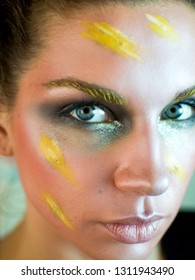 Portrait of Woman with creative Makeup.