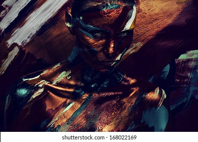 portrait of woman in dark colourful paints