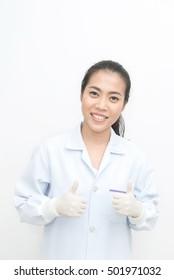 portrait of woman dentist standing