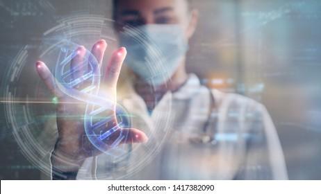 Portrait d'une femme médecin utilise une technologie futuriste innovante pour visualiser des échantillons d'ADN avec des hologrammes de réalité augmentée dans un laboratoire.