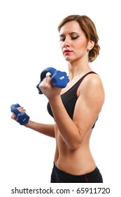 Portrait of a woman doing workout, isolated on white background
