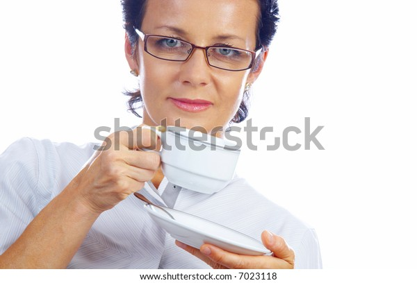 portrait of a woman drinking coffee on white background
