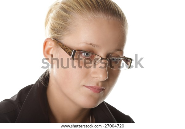 Portrait of woman in eyeglasses over white background
