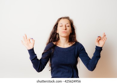 Portrait  woman, eyes closed, in meditation