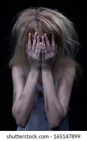 Portrait of a woman in fear