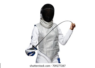 Portrait of Woman fencer wearing mask and white fencing costume. Isolated on White Background