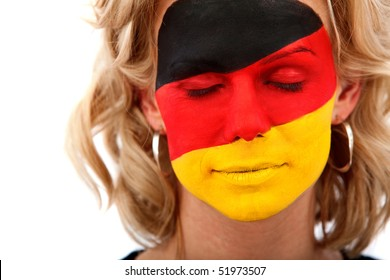 Portrait of a woman with the german flag painted on her face isolated over white