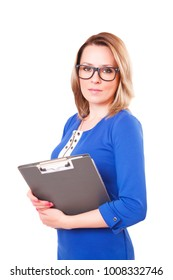 Portrait of a woman in glasses and with folder in her hands, isolated on white background