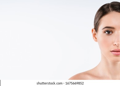 Portrait of woman halfface beauty healthy skin over white background