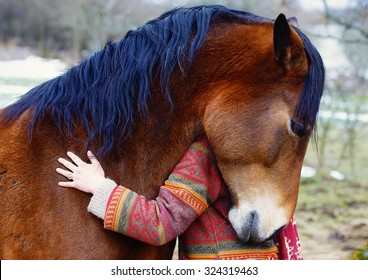 Portrait woman and horse in outdoor. Woman hugging a horse