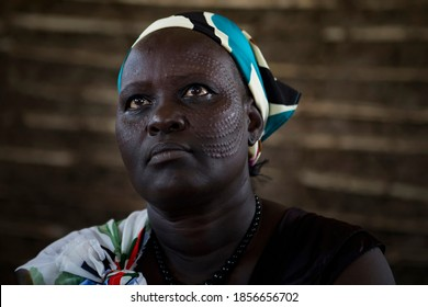 Portrait of a woman in a IDP camp for the Nuer ethnic group inside the UNMISS compound in Juba South Sudan, on 2017-08-17