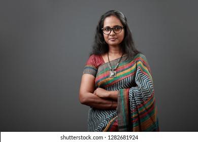 Portrait of a woman of Indian origin wearing sari