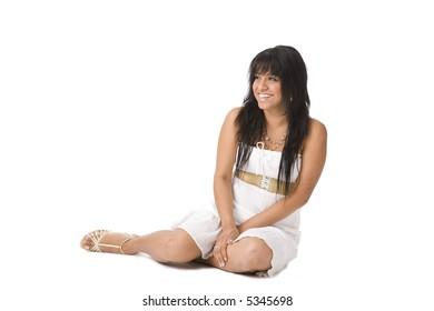portrait of a woman. isolated over white