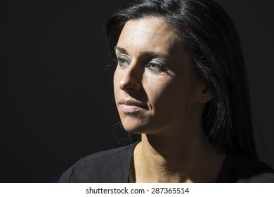 Portrait of a woman looking sad