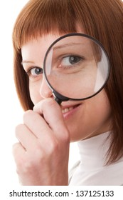 Portrait woman, Magnifying glass, isolated on a white background