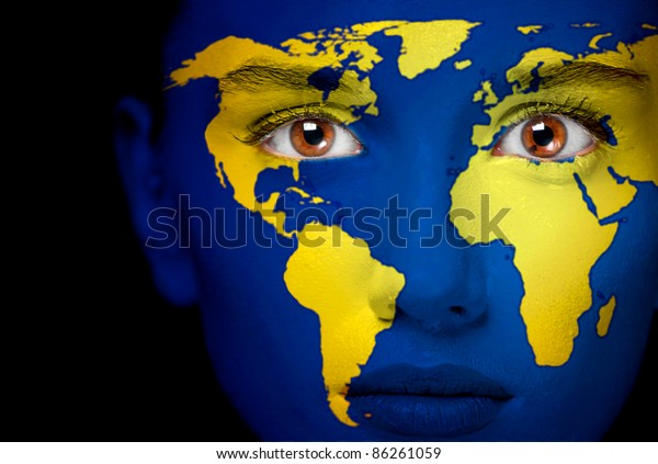 Portrait Woman Map World Painted On Stock Photo Edit Now 86261059