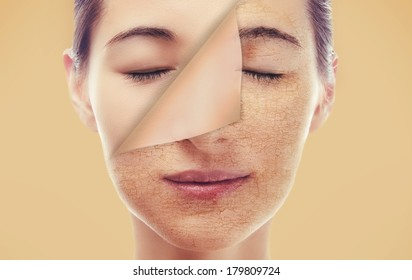 Portrait of a woman with a new smooth skin after peeling, skincare concept