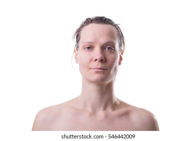 Portrait of a woman with no make up on, over white background