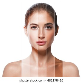 Portrait woman with problem and clear skin, skin tone different colors youth make up concept