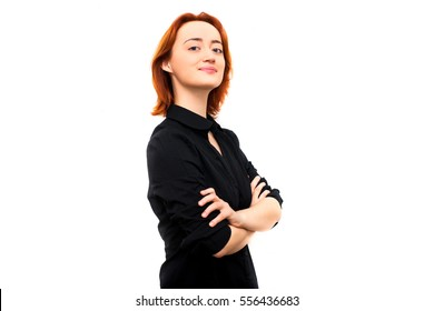 Portrait of a woman in profile, hands crossed. Business view, business portrait. The modern concept of work, business, employee. Isolated on white background
