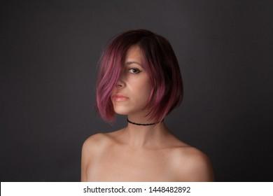 Portrait of Woman With Purple Hair Wearing Black Choker
