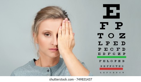 Portrait of woman reviewing eyesight closing eye with hand. Eye test. Eyesight vision exam chart