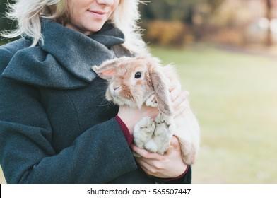 portrait of a woman with rubbit