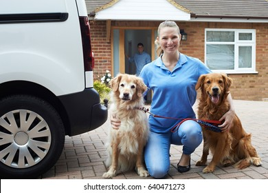 Portrait Of Woman Running Dog Walking Service
