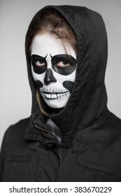 Portrait of woman with scary makeup for Halloween