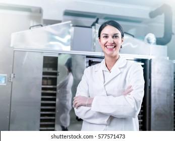 Portrait of Woman Scientist in Food Factory