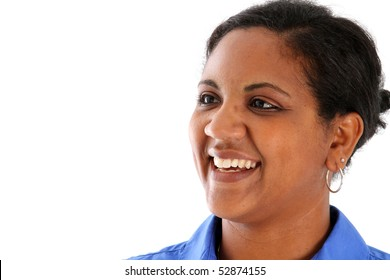 Portrait of woman set on a white background