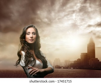 a portrait of a woman and shanghai  skyline