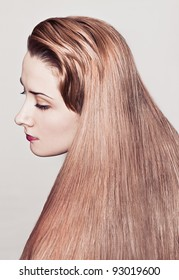Portrait of woman with shiny long hair