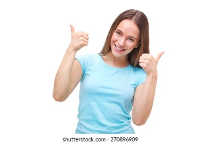 Portrait of a woman showing thumbs up sign and smiling isolated on white background.